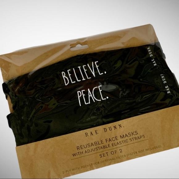 Rae Dunn BELIEVE/PEACE Face Masks